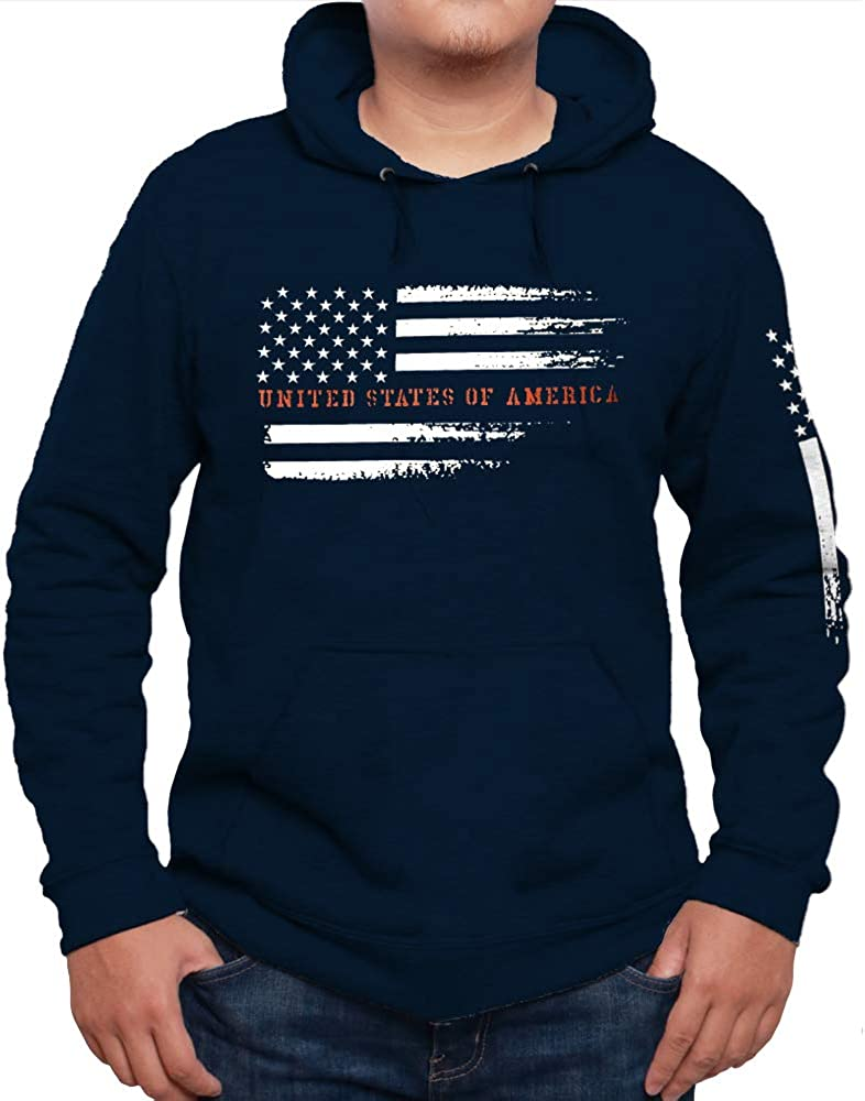 Distressed USA Flag Sweatshirt Grunge Style Vintage American Flag Hoodie Pullover Fleece for Men