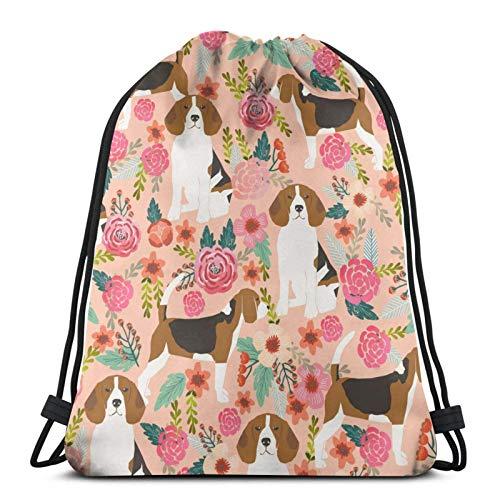 Beagle Flowers Florals - Mochila deportiva con cordón para gimnasio, bolsa de viaje para niños, hombres y mujeres