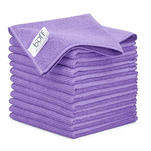 12' x 12' Buff Pro Multi-Surface Microfiber Cleaning Cloths | Purple - 12 Pack | Premium Microfiber Towels for Cleaning Glass, Kitchens, Bathrooms, Automotive