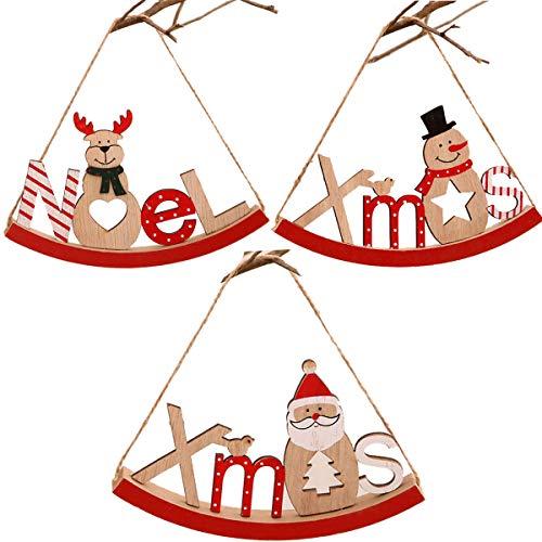 tangger 3 PCS Adornos Navideños Originales de Madera,Árbol de Navidad Colgante Decoración Adornos Colgantes Santa Claus...