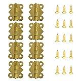 Juland 50 Stücke Mini Butterfly Scharniere Retro Messingscharniere mit 200 Stück Ersatzschrauben...
