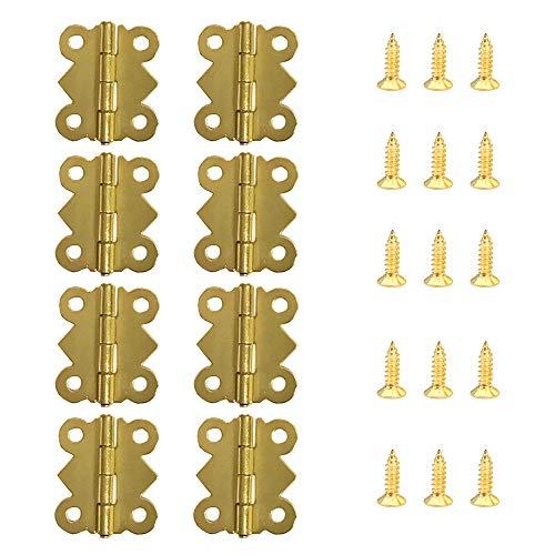 Juland 50 Piezas Mini bisagras de mariposa Bisagras de latón retro con tornillos de repuesto de 200 piezas para Caja de madera Cofre para joyas Gabinete de accesorios de bricolaje (20x17mm)