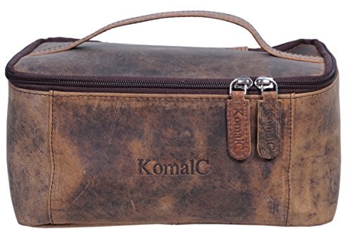 KomalC Genuine Unisex Vanity Leather Dopp kit - Travel Toiletry Bag Shaving Kit