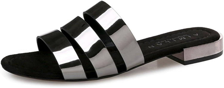 GIY Women's Glitter Slides Sandals Open Toe Summer Outdoor Beach Flats Beach Slipper shoes