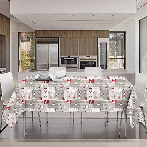 NuvolaNera Tovaglia in PVC plastificata stampata antimacchia – Facile da pulire, Ideale per interno ed esterno –120x160 cm Cucina Rosso