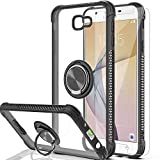 AYMECL J7/Prime Case,J7/Prime Phone Case with HD Screen Protector,360 Degree Rotating Ring Holder Crystal Clear Protective Case for SM-G610F,G610F/DS-TS Black