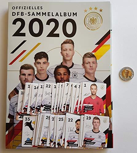 Rewe EM 2020 DFB - Sammelkarten - Album mit Allen 35 Verschiedene Normale Karten + 1 Fußballmünze der WM 2006 - Lukas Podolski + 1 TOYSAGENT Sonderkarte