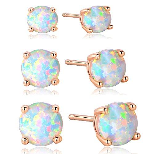 18K Rose Gold Plated Fire Opal Stud Earrings 4/6/8mm for Women (4/6/8 opal set)
