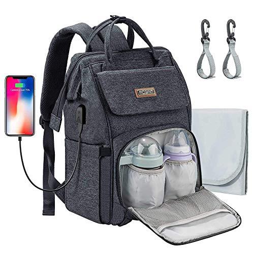 MCGMITT Baby Wickelrucksack Wickeltasche, Multifunktional Wasserdichte Babytasche mit USB-Lade Port, Wickelunterlage und Kinderwagengurten, Große Kapazität Mama Rucksack Oxford für Unterwegs (Schwarz)