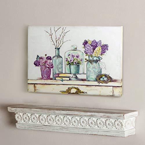 Impresión sobre Lienzo, Cuadro impresión Rectangular, Cuadro Decoración Pared Arte Pintura, Canvas Provenzal Romántico Shabby Chic - Floral - 35x51