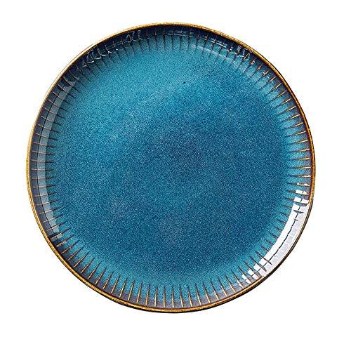 SkingHong Blau Keramik Frühstücksteller Speiseteller oder Pastateller Essteller aus hochwertigem Porzellan 21.5cm