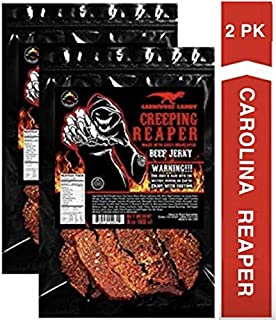 """JURASSIC JERKY'S """"CREEPING REAPER"""" Carolina Reaper Beef Jerky (2)-3oz Bag The Reaper is the HOTTEST Pepper in the world! Sweet with Heat~"""