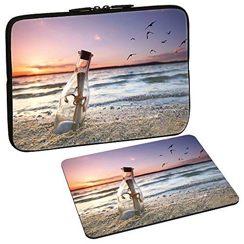 PEDEA Design Schutzhülle Notebook Tasche bis 15,6 Zoll (39,6cm) mit Design Mauspad, Message in a Bottle