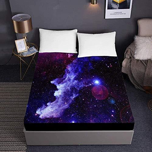 Bedclothes-Blanket edredón Ajustable Cama 150,,Sábanas 3D Galaxy para Cama Individual Doble tamaño King Sábanas 3D de Bolsillo Profundo 30cm-El 150x200x30cm_8