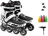 LDGF Patines en línea Rodillo Ajustable Inline Roller Profesional Patines Niños Hombres Mujeres Tamaño 38-42, En Blanco Y Negro Protección Completa (Color : Black, Size : 41 EU8 US7 UK25.5cm JP)
