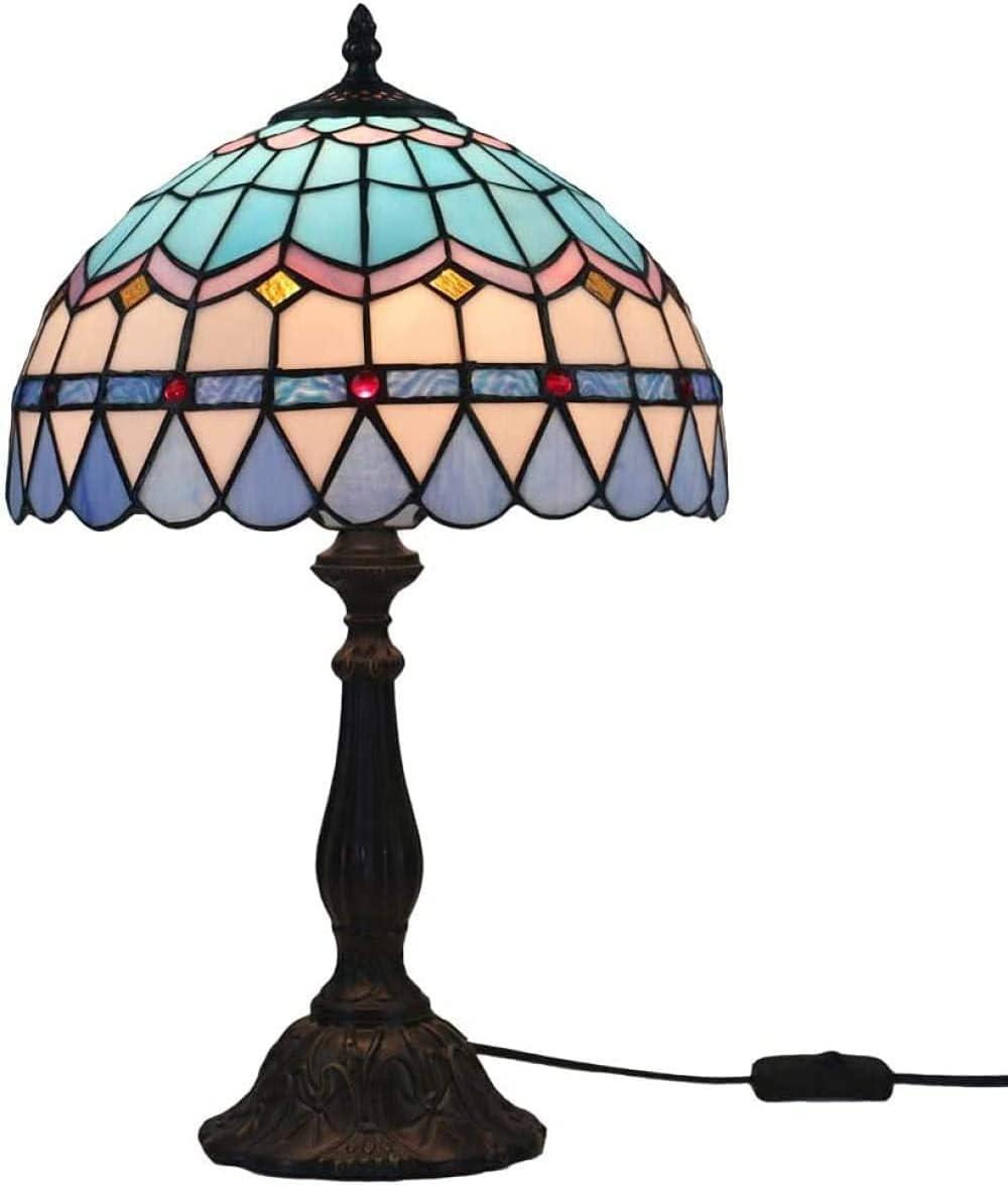 Vintage Mariposa Jardín Tiffany Style Lámpara de Mesa Mediterránea Europea Mesa de salón Lámpara-azul2 (Color : Blue2)