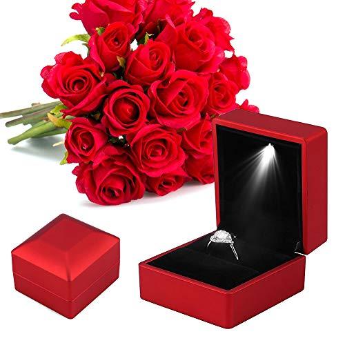 Schmuckschatulle für Damen, Ringschachtel, LED Licht Ring Box, LED Beleuchtet Ring Lagerung Schmuck Vitrine Geschenke Aufbewahrungsbox, Schmuckkästen für Verlobungsring Valentinstag Ring Box(rot)