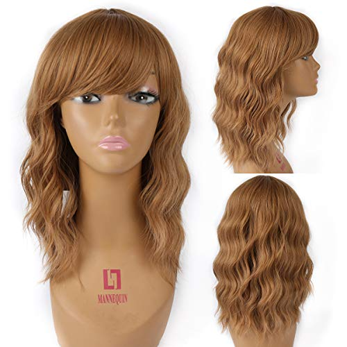 Pastel Wavy Wig With Air Bangs Women's Short Bob Blonde Wig Curly Wavy 14 Inch Pastel Bob Synthetic Cosplay Wig for Girl Colorful Costume Wigs