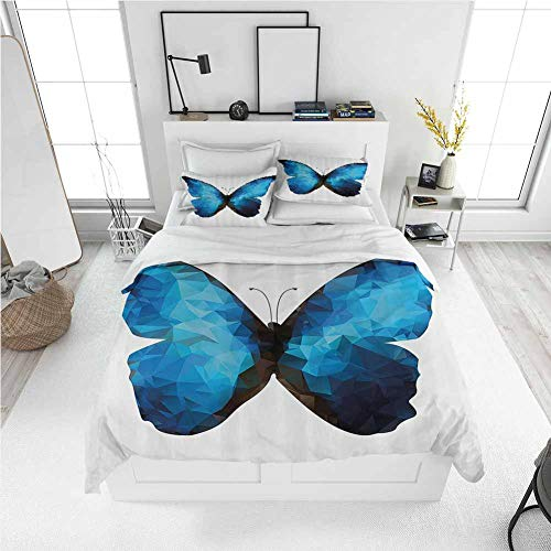 Modern Duvet Cover Butterfly,Modern Image of Insect Bug in Mosaic Ombre Colored Artwork,Black Dark Blue and Baby Blue Best Modern Style Bed Quilt Bed Cover for Men Women (Full)