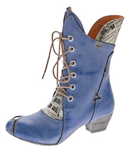 TMA Damen Stiefel Echt Leder Comfort Boots Schuhe 7011 Stiefeletten Blau Gr. 36