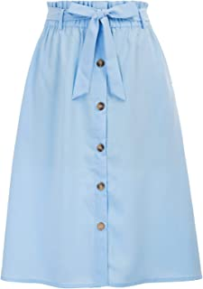 Womens A Line Elastic Waist Front Button Up Skirt with Pockets and Belts