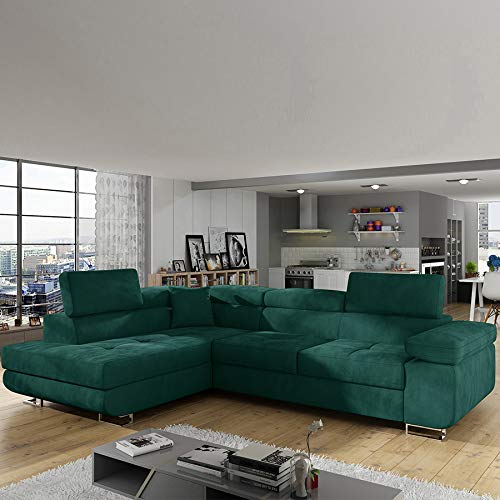 Hoekbank, links, uittrekbaar, stof, groen
