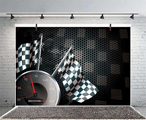 Leyiyi 6x4ft Photography Background Speed Racing Backdrop Happy Birthday Exciting Game Checkered Flag Car Dash Board Heavy Metal Wallpaper Cowboy Baby Shower Photo Portrait Vinyl Studio Video Prop