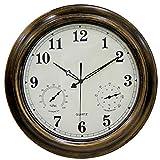 SHBV Reloj de Bronce para Exteriores de 18'con termómetro e higrómetro - Reloj Antiguo a Prueba de Agua Que no Hace tictac - para baño con Valla de jardín