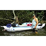 """Sea eagle 370 pro 3 person inflatable portable sport kayak canoe boat w/ paddles 16 3 person/650 lb capacity, weighs 32 lbs, suitable for up to class iii whitewater 370 deluxe kayak package features two movable, super comfortable deluxe kayak seats for improved back support and 2 paddles, foot pump, and carry bag 2 ab30 7'10"""""""" 4 part paddles with asymmetrical blade and aluminum shaft"""
