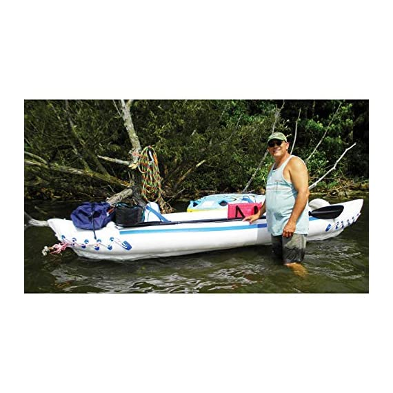 """Sea eagle 370 pro 3 person inflatable portable sport kayak canoe boat w/ paddles 7 3 person/650 lb capacity, weighs 32 lbs, suitable for up to class iii whitewater 370 deluxe kayak package features two movable, super comfortable deluxe kayak seats for improved back support and 2 paddles, foot pump, and carry bag 2 ab30 7'10"""""""" 4 part paddles with asymmetrical blade and aluminum shaft"""