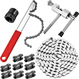 12 Pieces Bike Chain Tool Includes 6/7/8-Speed Bicycle Chain 116 Links, Chain Splitter, 8 Pieces Bicycle Missing Links, Chain Whip and Freewheel/Lockring Remover Wrench for Bike Chains