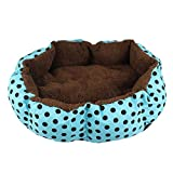 Auwer Lovely Round Point Pattern Pet Dog Bed Puppy Cat Indoor House Soft Fleece Warm Cushion Kennel Waterproof Bottom Cave Bag Nest Hiding Kitten Shelter Plush Cozy Mat Pad Blanket (Blue)