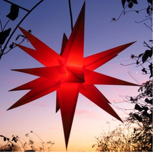 Außenstern mit LED 65 cm rot beleuchteter Stern Weihnachtsstern Faltstern, wetterfest und frostbeständig, Leuchtmittel LED (StaRt-NDL-DUH-E14-3,5W), kein störanfälliger Trafo nötig!
