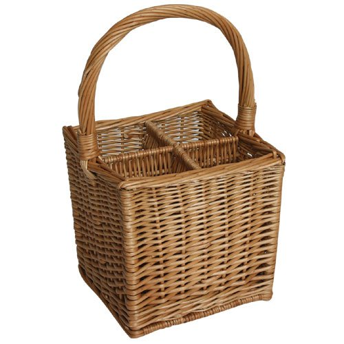 JVL Willow wicker 4 bottle wine basket carrier 25 x 25 x 44cm