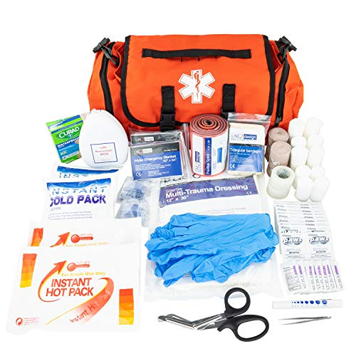 LINE2design Emergency Fire First Responder Kit - Fully Stocked First Aid Rescue Trauma Bag - EMS EMT Paramedic Complete Lifeguard Medical Supplies for Natural Disasters - Orange