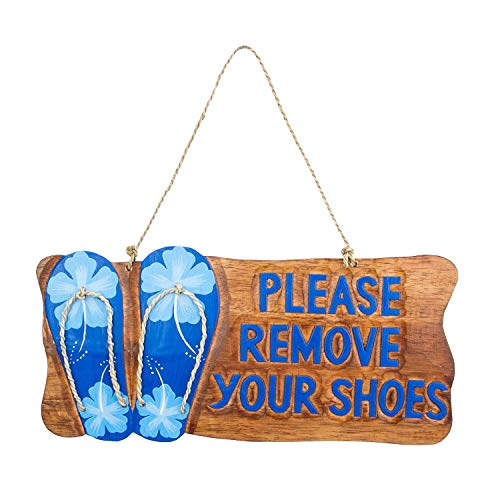 Beachcombers Please Remove Your Shoes Flip Flops Wood Sign Welcome Door Decorative Hanging Wall Art Plaque Home Decor Brown