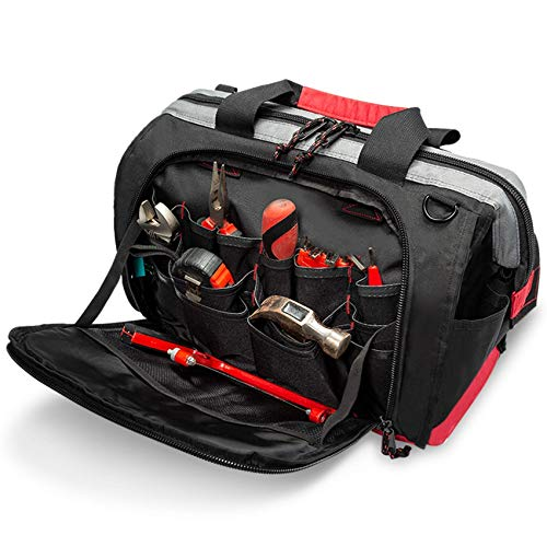 Pnochoo Tool Bags for Men 16inch Wide Mouth Tool Tote Bag with 25 Pockets for Tool Organizer amp Storage with Adjustable Shoulder Strap 16IN Black/Red