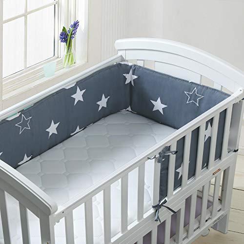 Luchild Tour de lit Protection avec schärpen multicolores Protection de tête nid gardelinge pour lit de bébé ours sur l' échelle 360x28 cm
