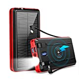 PSOOO Solar Charger Power Bank Wireless Charging Camping High Capacity with 2 Cable 20000mAh Waterproof Battery with Flashlight Lights Portable Fast Charging for iPhone Laptops Android Tablets (RED)