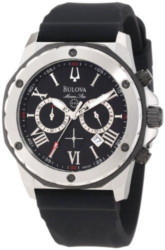 Relógio masculino Bulova 98B127 Marine Star com mostrador preto e pulseira