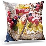 DJNGN Throw Pillow Covers 18'X 18'Inch Fundas de Almohada, Coloridas, Veganas, a la Parrilla, de Frutas, Pizza, Queso Crema, Miel, Atractivas, novedosas, Fundas de Cojines para Uso doméstico en compu