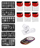 Store2508® Nail Stamping Kit SET E With 6 Rectangular Image Plates, Clear Jelly