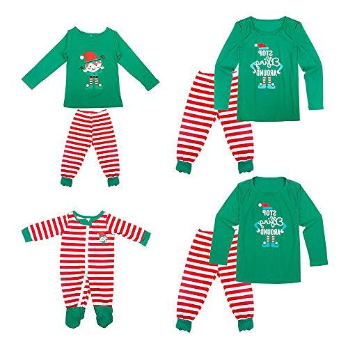 YOFASEN Pijamas Navideños Familiares - Ropa de Dormir para Mujeres Hombres Bebé Niño Invierno Algodón Pijamas Dos Piezas,Manga Larga + Pantalones