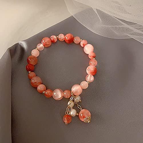 Bomoya Pulsera elástica de cristal con diseño de fresa para niña, regalo de cumpleaños, día de San Valentín, hermosa joyería