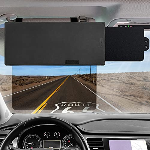 Polarized Sun Visor for Car,Veharvim UV400 Car Sun Visor Extension with Polycarbonate Lens and Side Sunshade,Anti-Glare Car Visor For Clearer Vision and Safe Driving,UV-Filtering/Protection