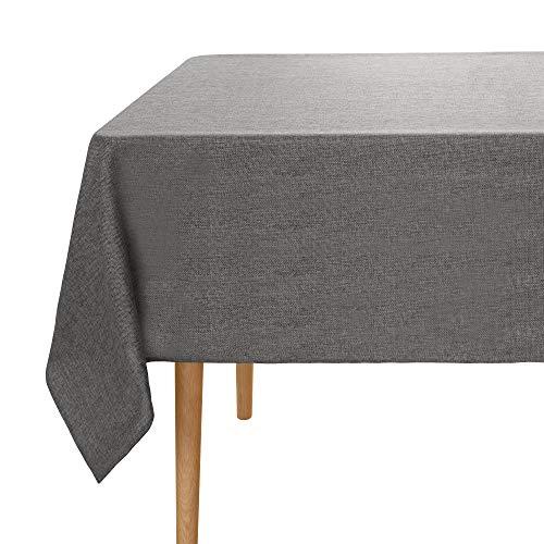 Amazon Brand – Umi Tischdecke Leinenoptik Wasserabweisend Tischtuch Lotuseffekt 137x200 Dunkelgrau