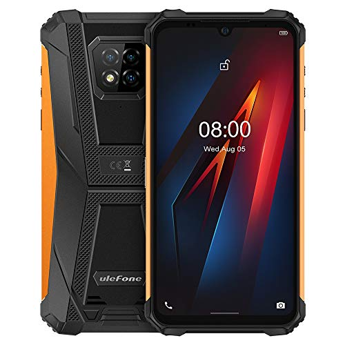 Ulefone Armor 8 Móvil Resistente Android 10, 6.1'' HD + IP68 Impermeable Antigolpes Teléfono Libre, Helio P60 4GB + 64GB, Cámara Trasera Triple de 16MP, NFC, Desbloqueo Facial&Huella Digital Naranja