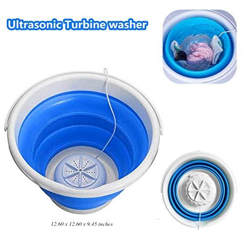 Ultraschall-Turbinenwaschmaschine, tragbare Mini-Turbo-Waschmaschine mit Faltbarer Wanne Kompakt, leichte Faltbare Ultraschall-Turbinenwaschmaschine USB-betriebene Reisewäschewaschmaschine -1 kg Last
