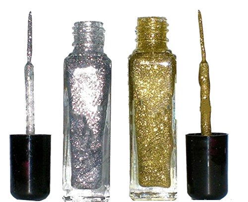 Set: Nailart Fineliner Glitter Silber + Glitter Gold je 8ml