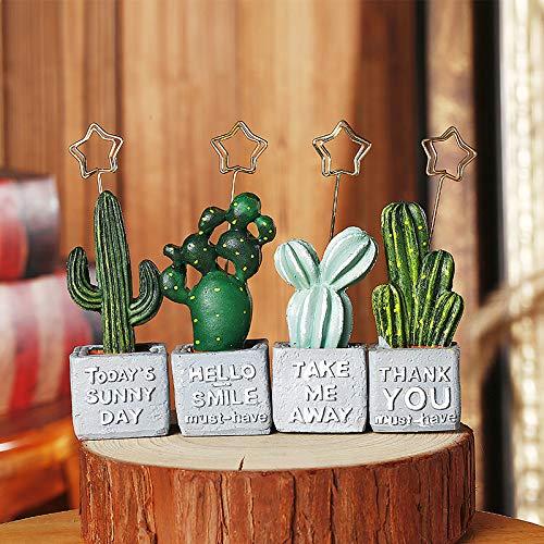 4 stücke Simulation Kreativität Sukkulenten Kaktus Memo Nachricht Ordner Foto Clip Visitenkartenhalter Desktop Nette Dekoration